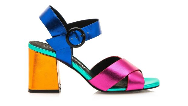 CHEL: Fuschia/azul block sandals, €105 Buffalo Shoe Lab, Exchequer Street, Dublin and weareshoelab.com