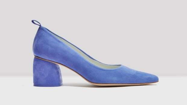 Pia cornflower blue leather mid heel Miista, €159 Atrium, Powerscourt Centre, Dublin