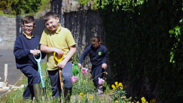 Paul Gore, 11, and Lee Weldon, 9, who attends Phoenix Park Specialist School, in preparation for Ireland's first nurture garden, which was designed for Bloom for children with specialist educational needs. Photograph: Aidan Crawley