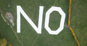 A large No sign appeared on Dublin's Montpellier Hill on Tuesday afternoon.
