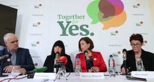 Noel Whelan, Elaine Bedford, Mary Lou McDonald and Ailbhe Smyth at a Together For Yes press conference in Dublin. Photograph: Niall Carson/PA Wire