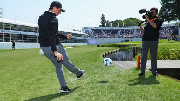 Rory McIlroy takes part in a football golf challenge on the 18th hole during the BMW PGA Championship Pro-Am at Wentworth. Photograph: Warren Little/Getty Images