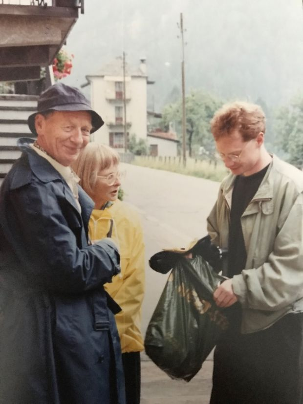 Patrick Cox with his mother and father in the 1980s