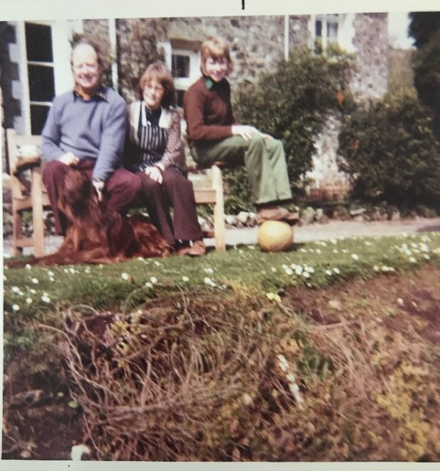 Patrick Cox with his parents and dog Rory in 1970 or 1971, just after the family moved to Devon