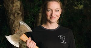 Oonagh McMorrow is one of five women who are members of the ever-growing Wicklow Axe Throwers