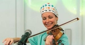 Sharon Corr performs at a fertility clinic in Barcelona. Photograph: Institut Marquès