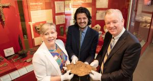 Cork City Council chief executive Ann Doherty, Cork Public Museum acting curator Daniel Breen, and BAM chief executive  Theo Cullinane at the launch of   the 'Below our Feet' Viking exhibition at Cork Public Museum. Photograph:  Michael O'Sullivan/OSM Photo