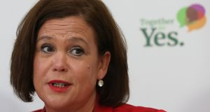 "Sinn Féin leader Mary Lou McDonald: It is not acceptable to ""solve the problem for women and girls south of the Border and say that it is alright if the same problem exists across the Border"". Photograph:  Niall Carson/PA"