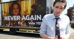 Minister for Health Simon Harris speaking  at a Together for Yes billboard launch in Dublin, ahead of the referendum. Photograph:   Niall Carson/PA Wire
