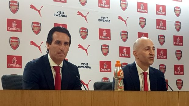 "Arsenal's new manager Unai Emery and the club's chief executive, Ivan Gazidis, at the Emirates Stadium: ""Unai has an energy. All of our players will respond to the new energy that Unai brings."" Photograph: Mark Mann-Bryans/PA Wire"