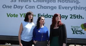 Aoibhinn Ní Shuilleabháin, Annie Hoey   and Sarah Moynihan from Together for Yes on the canvass in Dublin. Photograph: Maxwells