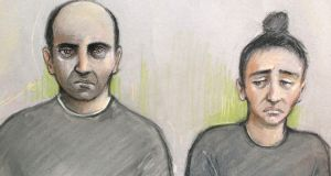 Court artist sketch dated September 26th, 2017, by Elizabeth Cook of Ouissem Medouni (40) and his partner Sabrina Kouider (35) who have been found guilty of murdering their French nanny Sophie Lionnet. Photograph: Elizabeth Cook/PA Wire