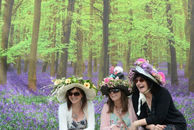 Galway Girls Joanna Murray, Marie Reilly, Barbara Whyte from Loughrea dressed up for a day out at Bloom in the Phoenix Park. Photograph: Alan Betson / The Irish Times