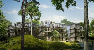 The unusual curved shape of the seven pavilion-style apartment blocks will be just one of the unique features of the scheme, whose design has been heavily influenced by the existing woodlands on the site