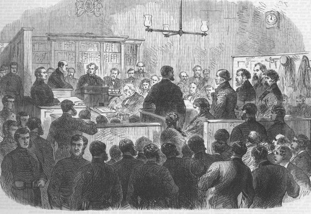 Five Fenian prisoners accused of murder, in the dock of Bow Street Police Court on December 30th, 1867. They blew down a wall of the Clerkenwell House of Detention, London, on December, 13th, 1867. Photograph: The Illustrated London News / Getty