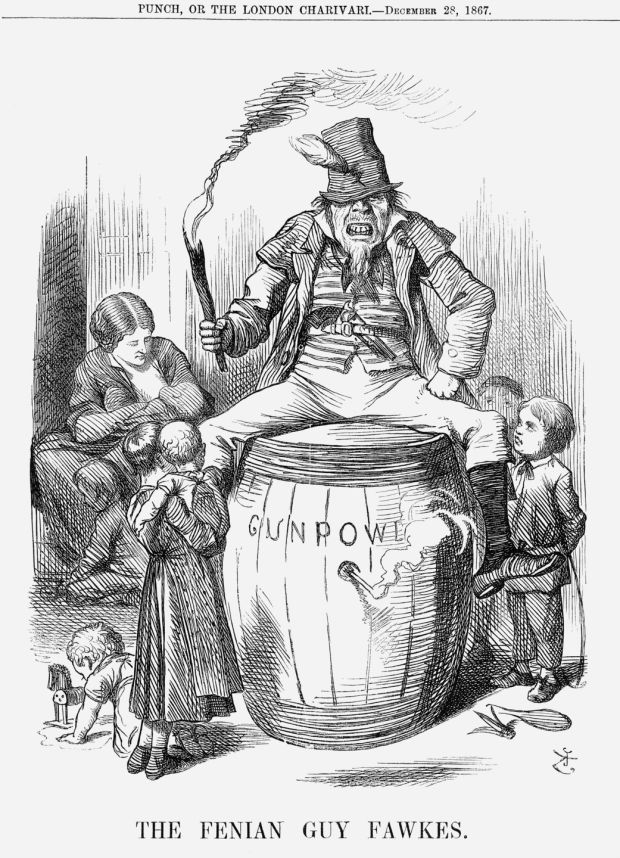 The Fenian Guy Fawkes, from Punch, or the London Charivari, December 28th, 1867. Photograph: The Cartoon Collector/Print Collector/Getty Images