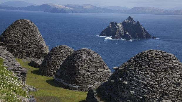 OPW archaeologist Edward Bourke looks at life in the beehive huts in the Skelligs, off the Kerry coast. Photograph: Getty Images