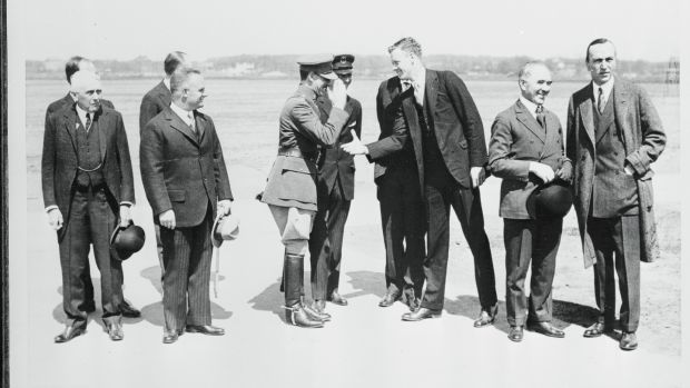 Timothy Smiddy, the irish Free State's envoy to the US, second right, with US secretary of state Kellogg; Capt Hermann Koehl; Major James Fitzmaurice; Col Charles Lindbergh; and Eddie Rickenbacker, a famous wartime ace