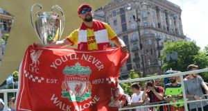 A Liverpool fan  at the fan zone in Kiev ahead of Saturday night's Champions League final in Kiev. Photograph:  Sergei Supinsky/AFP/Getty Images