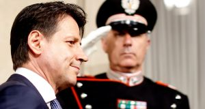 Italian prime minister-designate Giuseppe Conte arrives to speak with media at the Quirinal Palace in Rome on Wednesday. Photograph: Alessandro Bianchi/Reuters