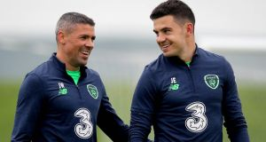 Jon Walters and John Egan during the Republic of Ireland training session at the FAI National Training Centre in Abbotstown on Thursday. Photograph: Ryan Byrne/Inpho