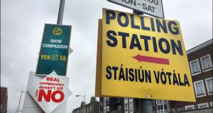 Polling station signage in Rathmines, Dublin. Photograph: Bryan O'Brien/The Irish Times