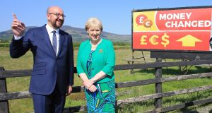 Belgian prime minister Charles Michel    and Minister for Business Heather Humphreys on the Louth/Down Border. Photograph: EPA