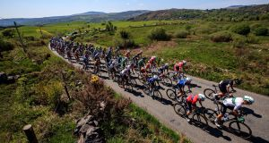 Riders   on stage five of the Rás Tailteann on Thursday. Photograph:  Bryan Keane/Inpho