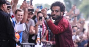 Liverpool's Mohamed Salah arrives at Kiev in advance of Saturday's Uefa Champions League final against Real Madrid at the NSC   Olimpiyskiy stadium. Photograph: Armando Babani/EPA