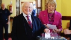 President Higgins votes in the abortion referendum