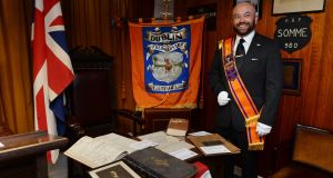 Master Chris Thackaberry at the Grand Orange Lodge. Photograph: Cyril Byrne