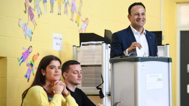Taoiseach Leo Varadkar casts his vote at Scoil Thomáis in Dublin. Photograph: Jeff J Mitchell/Getty Images