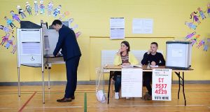 Taoiseach Leo Varadkar  casts his vote at Scoil Thomas, Castlenock Dublin, as the country goes to the polls to vote in the referendum on the Eighth Amendment of the Irish Constitution. Photograph: Bryan O'Brien