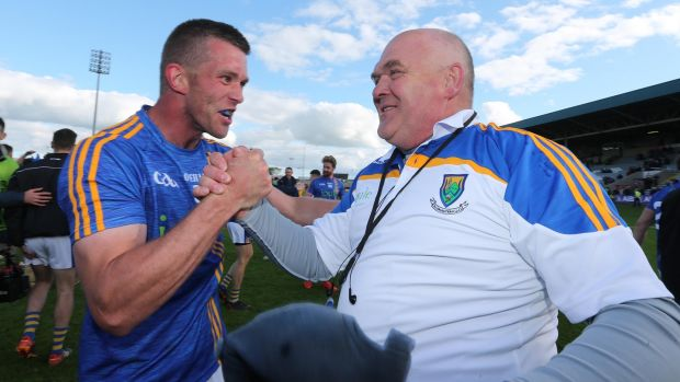 Wicklow's Rory Finn and John Evans celebrate at the final whistle after the victory over Offaly. Photograph: Lorraine O'Sullivan/Inpho