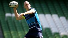 Devin Toner channels his inner Tom Brady during Leinster's Captain's Run at the Aviva Stadium ahead of Saturday's Guinness pro 14 final against Scarlets. Photograph:   Tommy Dickson/Inpho
