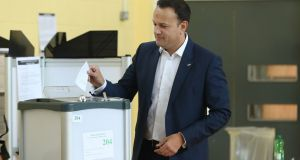 Taoiseach Leo Varadkar casts his vote at Scoil Thomáis, Castleknock: as well as dealing with the result, the Government has many other pressing issues  to resolve.  Photograph Niall Carson/PA Wire