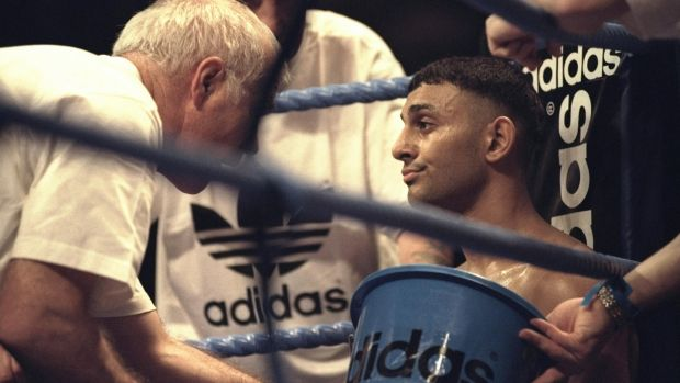 Brendan Ingle gives Prince Naseen Hamed advice during the world title fight with Remigio Molina at the Nynex Arena in Manchester in November 1996. Hamed won the fight after a TKO in the second round. Photograph: John Gichigi/Allsport