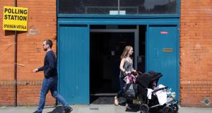 Voters at a polling station in Dublin. Photograph: Aidan Crawley/EPA