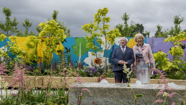 President Michael D Higgins and his wife Sabina at Bloom 2017 in the Phoenix Park. Photograph: Brenda Fitzsimons