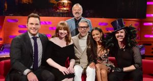 (From left) Chris Pratt, Bryce Dallas Howard, Jeff Goldblum, Thandie Newton and Jake Shears join Graham Norton on BBC One on Friday. Photograph: PA