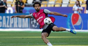 Liverpool's Mohamed Salah during training at the NSC Olimpiyskiy Stadium in Kiev on Friday ahead of the Champions League final against Real Madrid on Saturday night. Photograph: Kai Pfaffenbach/Reuters