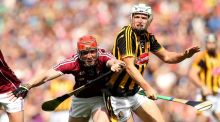 Galway's Conor Whelan battles with Kilkenny's Pádraig Walsh at Croke Park. Photograph: Ryan Byrne/Inpho