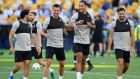 Mohamed Salah, Dejan Lovren,   Virgil van Dijk and Emre Can of Liverpool during a training session ahead of the Uefa Champions League final against Real Madrid at NSC Olimpiyskiy Stadium in Kiev. Photograph: Michael Regan/Getty Images