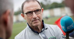 Martin O'Neill: his Republic of Ireland side face a tough test against one of the favourites for the World Cup this summer.  Photograph: Ryan Byrne/Inpho