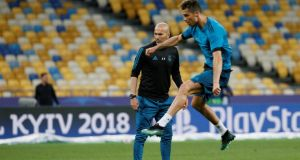 Real Madrid coach Zinedine Zidane watches  Cristiano Ronaldo during shooting practice ahead of the Champions League final against Liverpool in Kiev. Photograph:   Gleb Garanich/Reuters