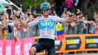 Britain's Chris Froome  crosses the finish line to win the  19th stage of the Giro d'Italia  from Venaria Reale to Bardonecchia. Photograph: Daniel dal Zennaro/ANSA via AP