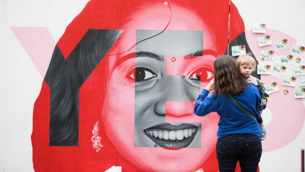 Maria Golpe and her daughter Sabela Golbe Andrews pictured at the Mural of Savita Halappanavar. Photograph: Tom Honan/The Irish Times