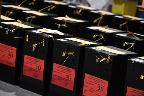 Ballot boxes wait to be unlocked. Photograph: Clodagh Kilcoyne/Reuters