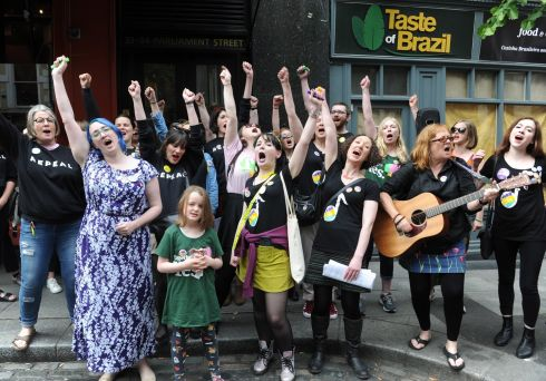 Members of a women's Choir for Choice sing after the vote. Photograph: Aidan Crawley/EPA