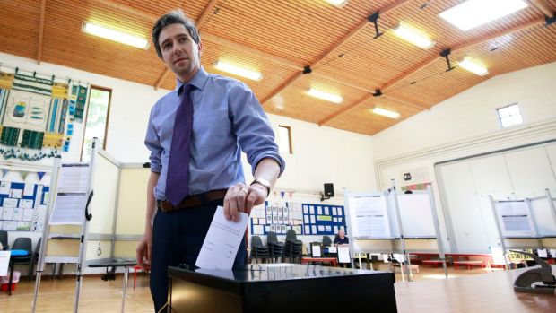 Minister for Health Simon Harris at his local polling station in Delgany National school, Delgany, Co Wicklow. Photograph: Nick Bradshaw/The Irish Times